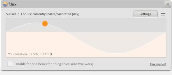 """""""f.lux"""" automatische Anpassung der Farbtemperatur des Bildschirms"""